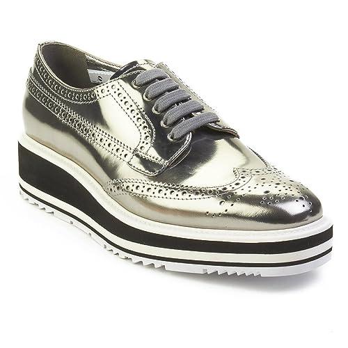 67010243ade Prada Women s Leather Platform Derby Shoes Silver  Amazon.ca  Shoes    Handbags