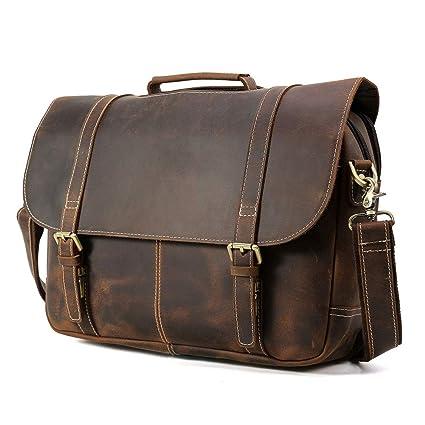 Vints Mens Vintage Cowhide Leather 15.6 Laptop Briefcase Business Office  Shoulder Bag Vintage - with Multifunctional 29e6ad4aa601a