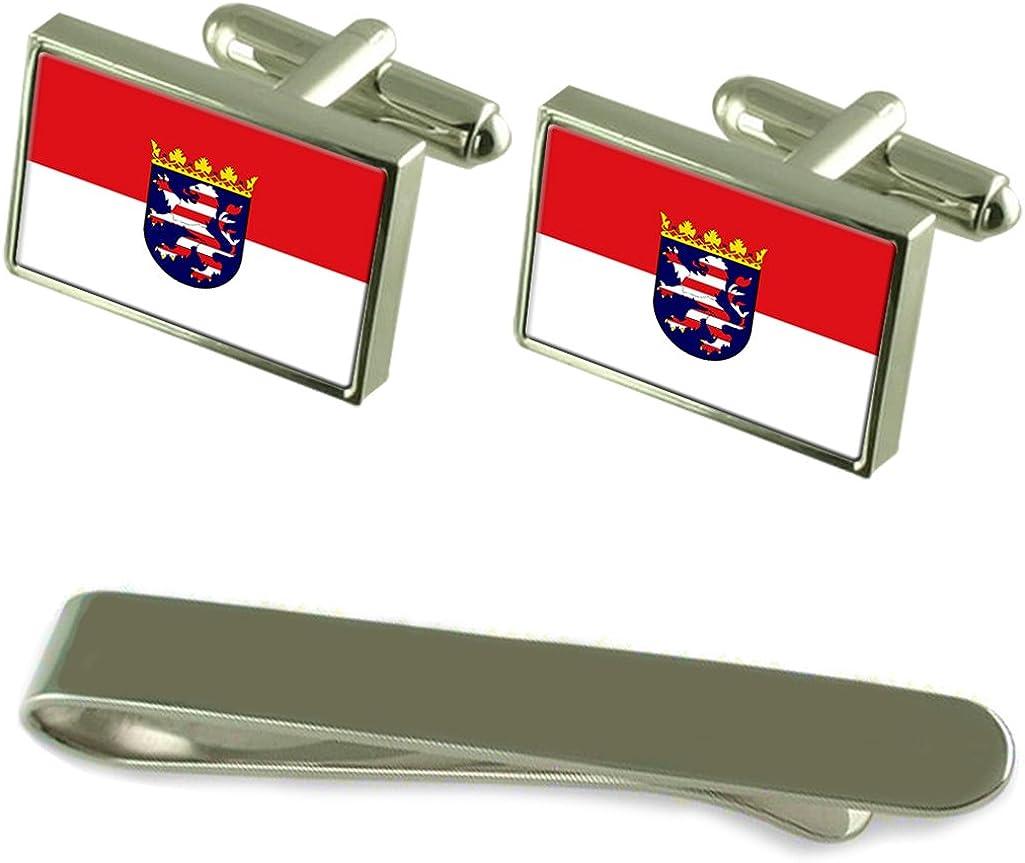 State Flag Silver Cufflinks Tie Clip Box Gift Set Hessen Hesse