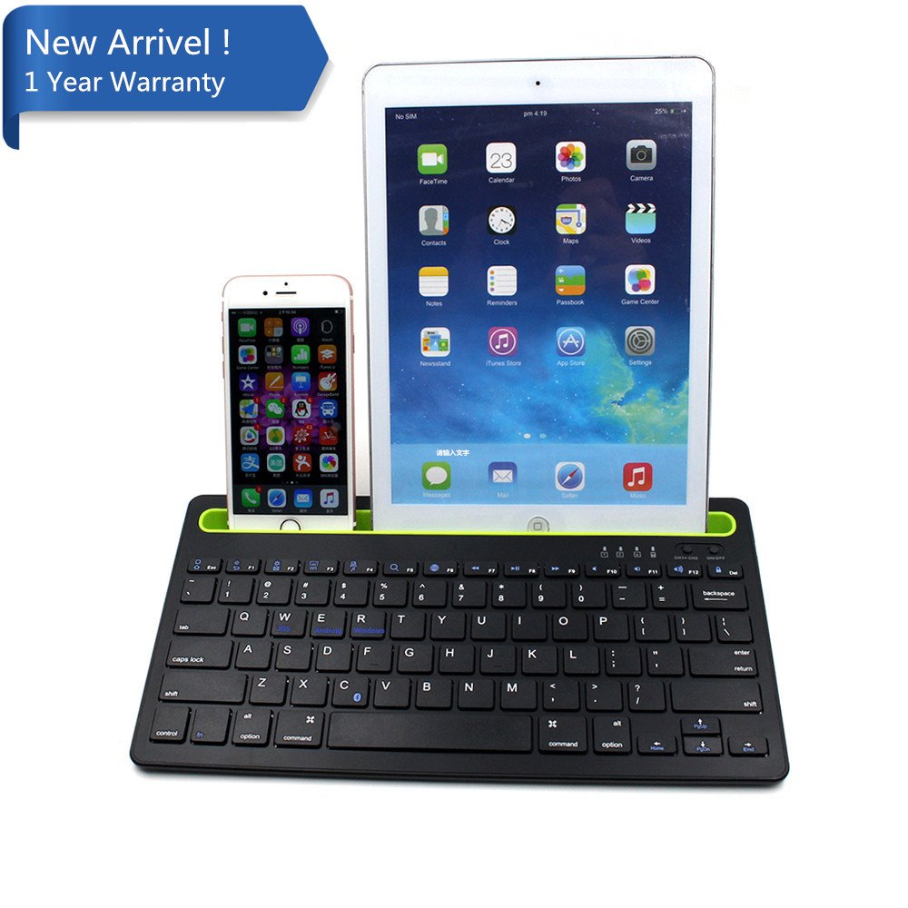 Multi-Device Bluetooth Keyboard for iOS Android Windows System Device, IKOS Universal Wireless Keyboard for Apple iPad iPhone X 8 7 6S 6 Plus, Android Tablet, Mac, Smartphone, Samsung
