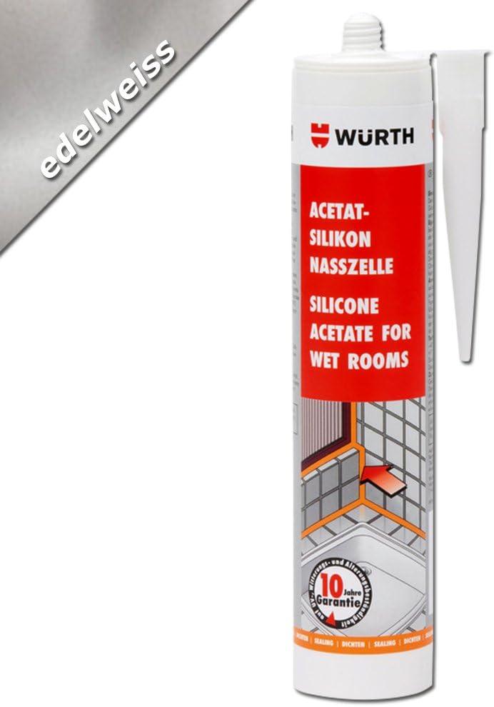 WürthSilicona acetato para habitaciones húmedas Edelweiss (310ml)