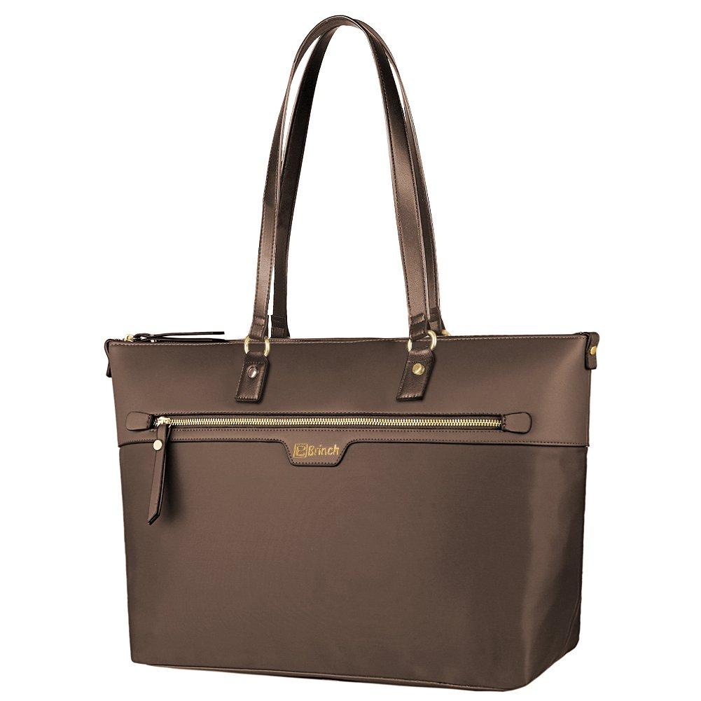 BRINCH Laptop Tote for Women, Multifunctional Zipper Nylon Work Travel Shopping Tote Bag Duffel Carrying Shoulder Bag Briefcase Handbag for 15-15.6 Inch Laptop/Notebook / Macbook/Tablet, Black FOSTAK