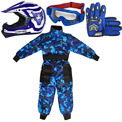 Leopard LEO-X17 Azul Casco de Motocross para Niños (XL 55cm) + Gafas + Guantes (XL 8cm) + Camo Traje de Motocross para Niños - S (5-6 Años)