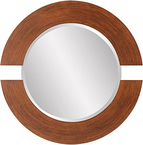 Howard Elliott Hanging Beveled Round Orbit Wall Mirror, Wood, 38 Inch