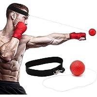 CoWalkers Reflex Boxing Trainer Fight Ball para el entrenamiento de MMA Mejore la velocidad y las reacciones Punch Focus Fitness Fitness Trainer con banda elástica Boxeo Sombrero Equipo de boxeo Bolsos de perforación Boxeo Ejercicio y práctica