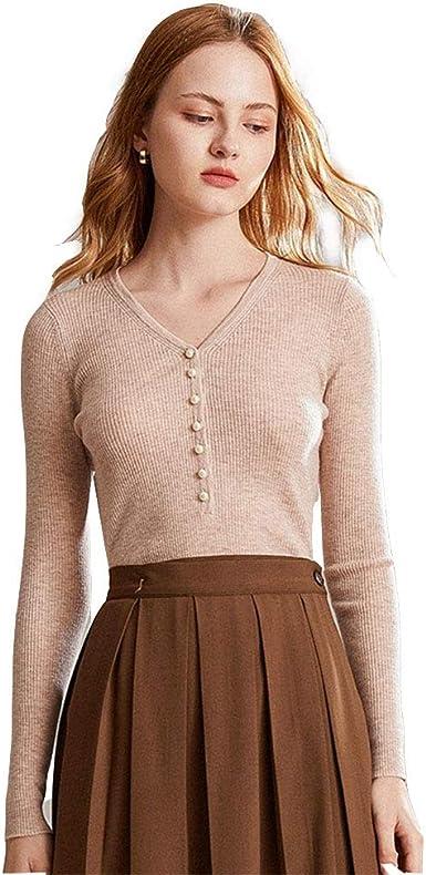 Suéter Fino con Cuello En V para Mujer Jersey Corto De Mujer ...