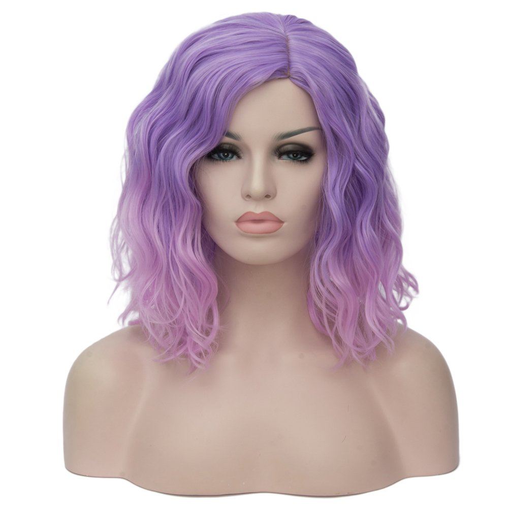 BERON 14'' Women Girls Short Curly Bob Wavy Ombre Pink Wig Body Wave Daily Hair Wigs (Light Purple to Pink)