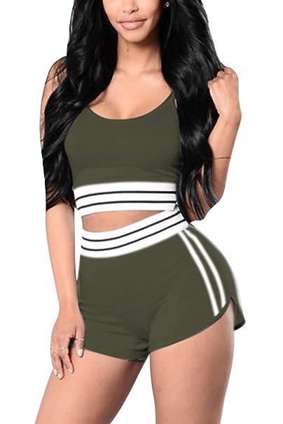 3c32d3c8d518b VamJump Women Workout Crop Tank Tops and High Waist Shorts 2 Piece Suit Army