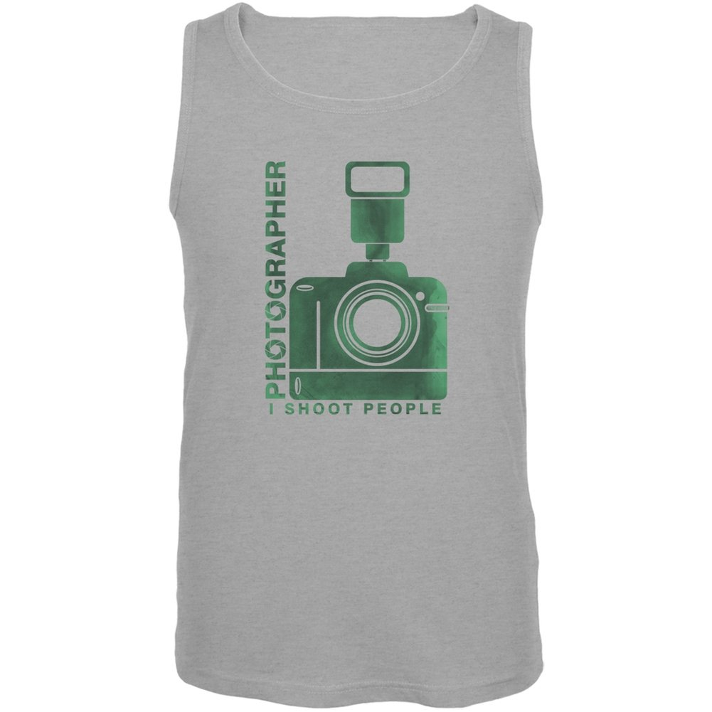 Photographer Shoot People Funny Heather Grey Adult Tank Top