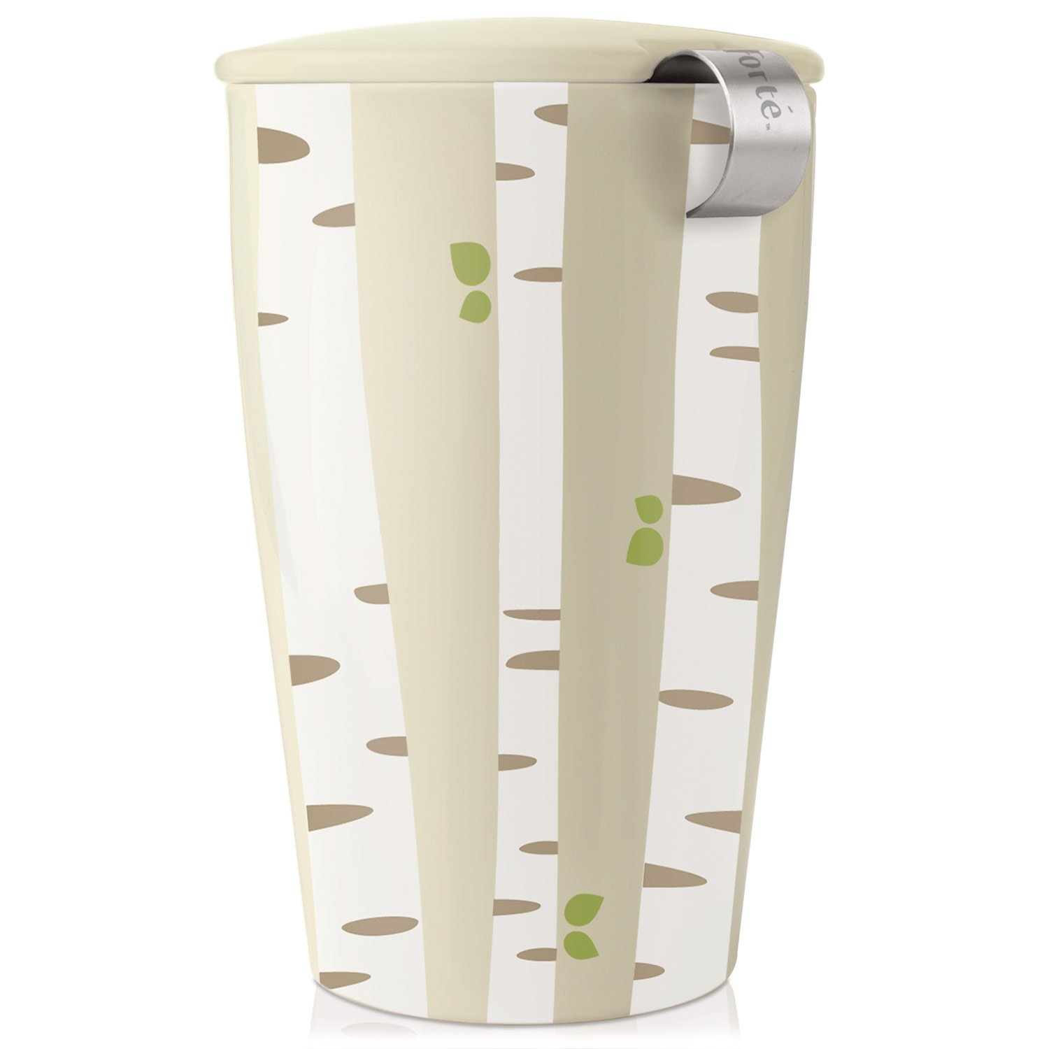 Tea Forté KATI Cup Ceramic Tea Brewing Cup with Infuser Basket and Lid for Steeping, Loose Leaf Tea Maker, Birch Forest Tea Forte