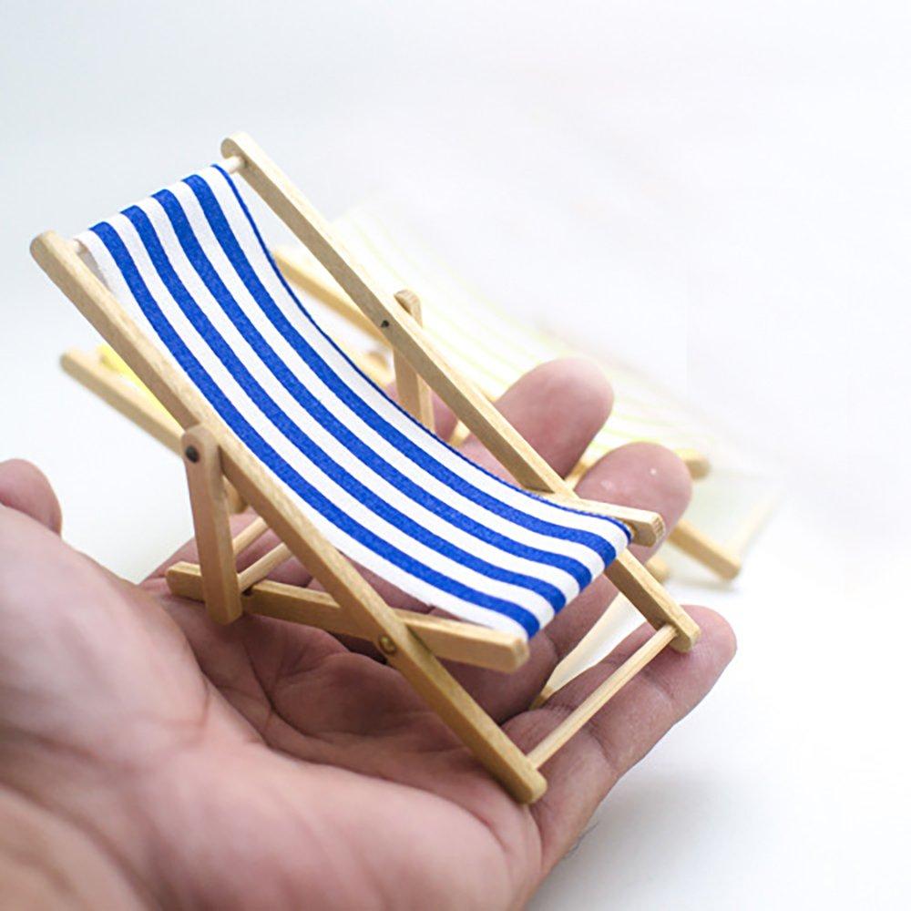 para casa de mu/ñecas o jard/ín Newin Star 1//12 color azul Silla plegable en miniatura dise/ño de rayas