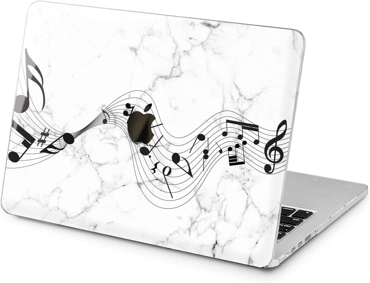 Lex Altern Hard Case Compatible with MacBook Air 13 Mac Pro 15 inch Retina 12 11 2020 2019 2018 2017 Shell White Laptop Notes Music Song Touch Bar Women Protective Black Simple Design Marble Cute
