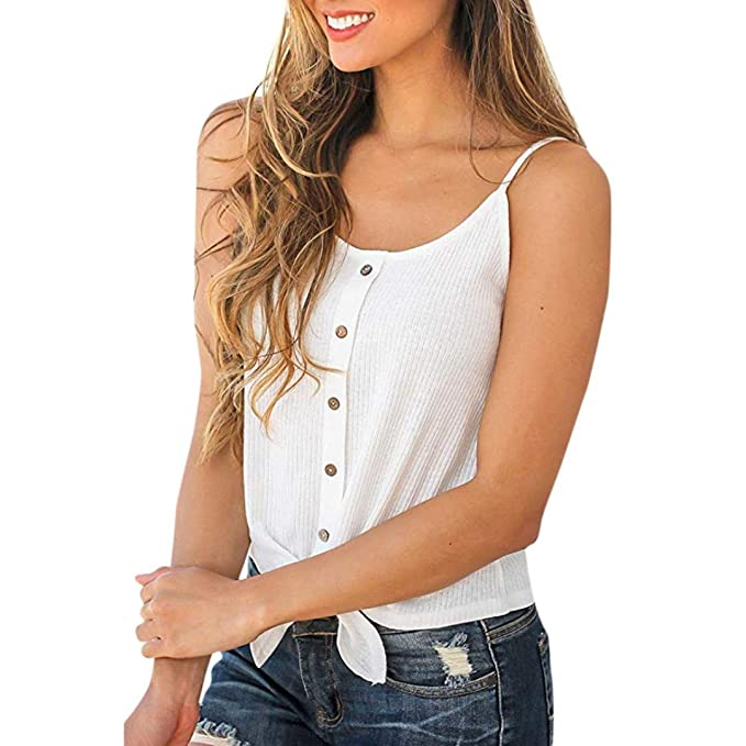 Botón sin Mangas para Mujer,Camisa sin Mangas del Chaleco del Top Blusa