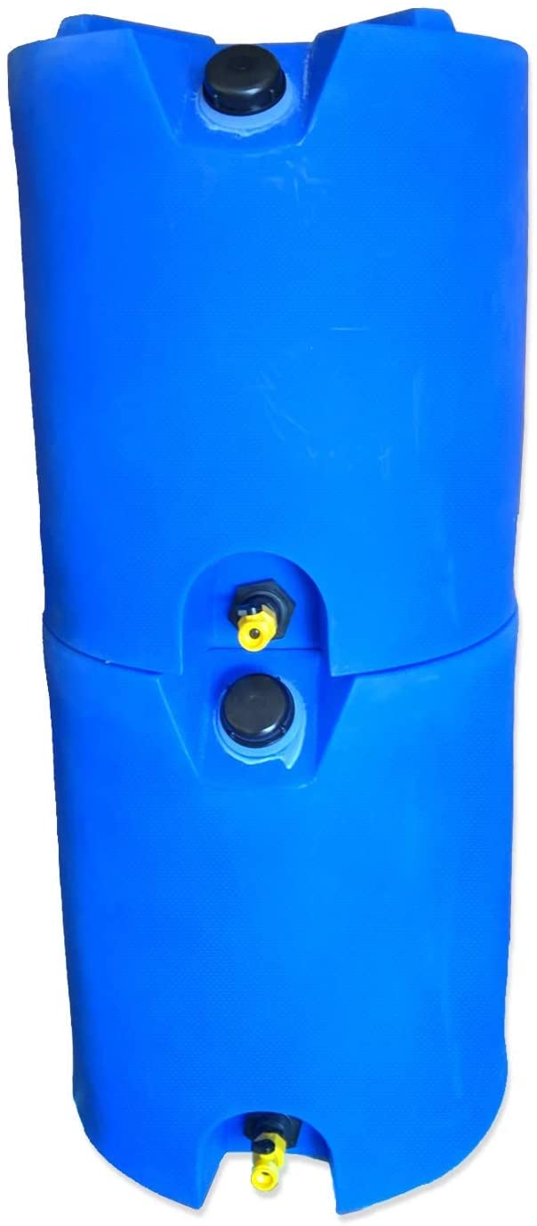 30 Gallon Stackable Emergency Water Storage Tank - 2 Tanks & Water Treatment Kit- BPA Free Food Grade Plastic - Survival Supply Barrel - Portable & Reusable
