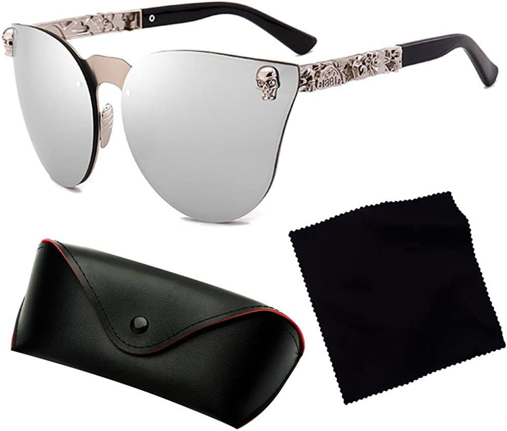 Yying Skull Hommes Femmes Cat Eye Lunettes De Soleil Vintage Surdimensionn/é Miroir Sans Monture Cateye Eyewear