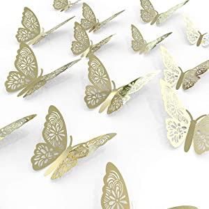 3D Butterfly Wall Art Decoration Stickers Glitter Golden Removable Wall Decals Mural DIY for Kids Girl Boy Bedroom Living Room for Home and Room with 3 Sizes 24pcs Craft Decor