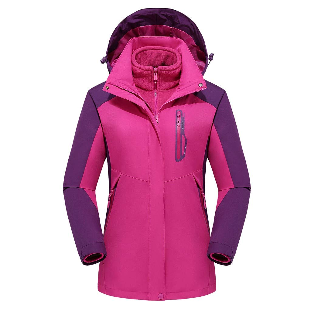 Pandaie Women 3 in 1 Jacket Hooded Detachable Warm Liner Waterproof Windproof Winter Outdoor Ski Windbreaker Raincoat Hot Pink by Pandaie