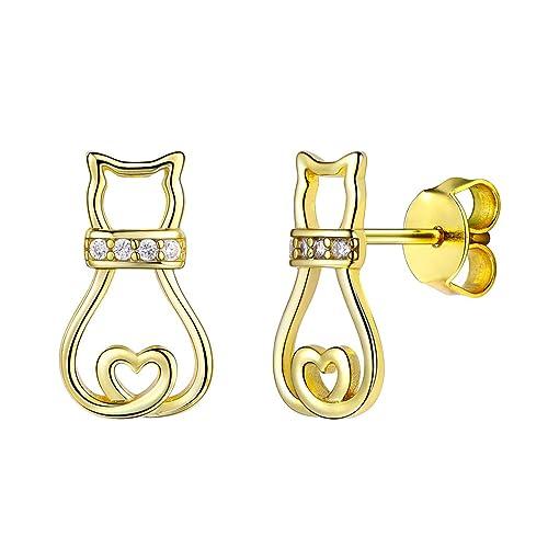 d5267168d SILVERCUTE 925 Sterling Silver Cat Cute Stud Earrings Glittering Heart  Cubic Zirconia Earring/Necklace/