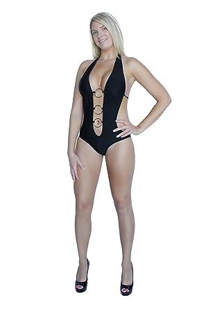 08d8c1e259f75 Flirtzy Sexy Deep V Neck Brazilian Back Bottom Halter Top Monokini ...