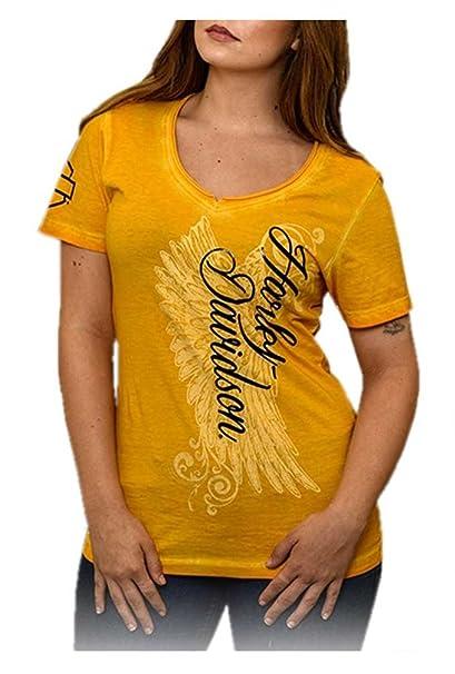c0db41fb Harley-Davidson Women's Road Diva Notched V-Neck Short Sleeve Tee, Yellow (