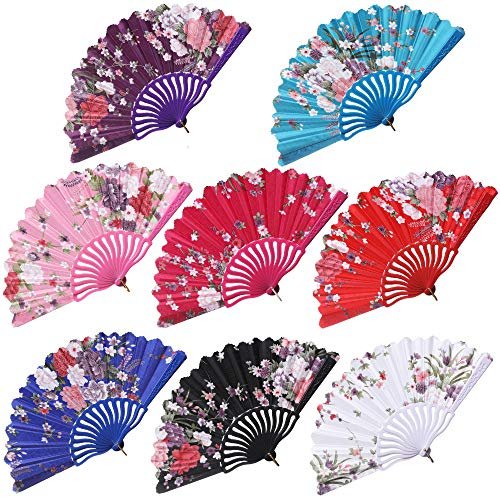 BABEYOND Spanish Floral Folding Hand Fan Vintage Handheld Lace Folding Fan with Different Patterns Fabric Folding Fan for Wedding Dancing Party (Chinese Rose-3)