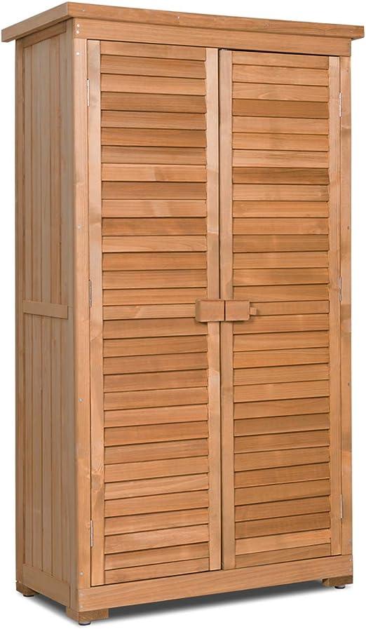 Goplus Almacenamiento Exterior Cobertizo Persiana de Madera de Abeto Diseño armarios de Madera para el jardín Yard (Natural): Amazon.es: Hogar