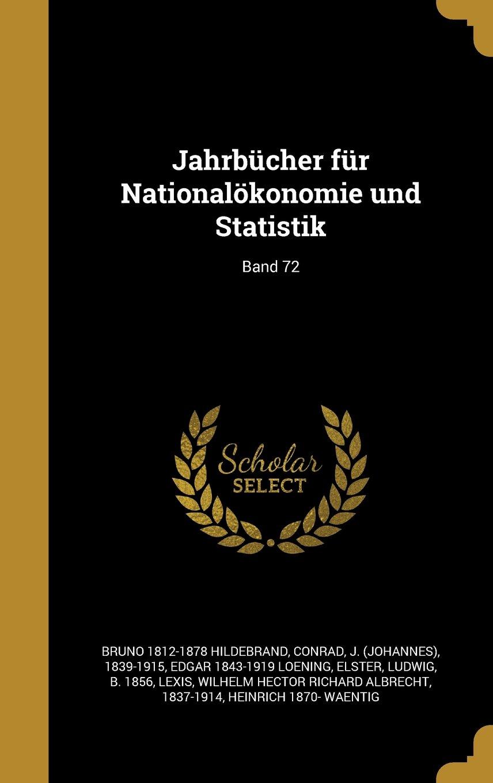 Jahrbucher Fur Nationalokonomie Und Statistik; Band 72 (German Edition) ebook