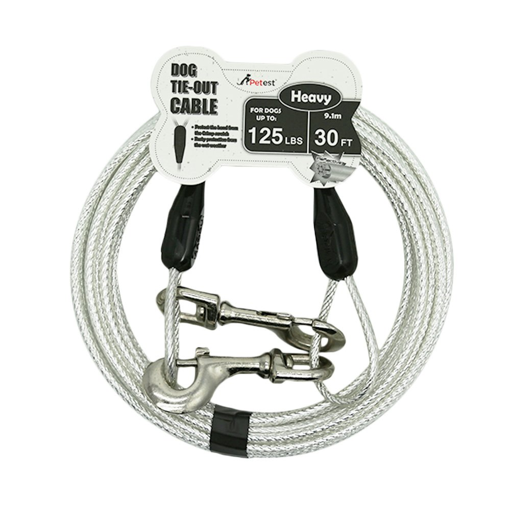 Petest 30ft Reflective Tie-Out Cable for Heavy Dogs Up to 125 Pounds