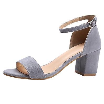 YE Damen Chunky Heels Offene Sandalen mit Knöchelriemchen Denim Elegant Bequem Schuhe YA8cfKzR