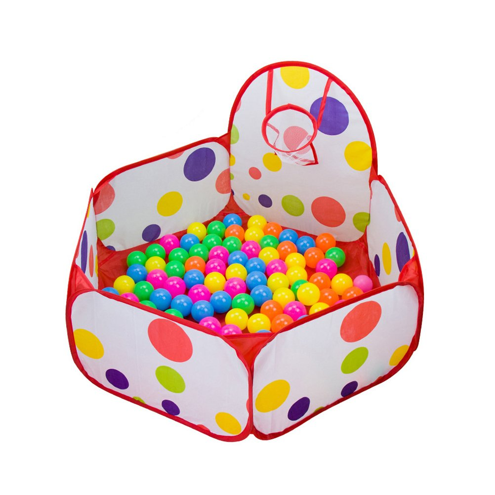 Santfe Kids Baby Polka Dot Style Ocean Ball Pool Outdoor Indoor Game Play Toy Tent Easy Folding Ball Pit Play House Baby Beach Tent with Basketball Hoop (59.06) by Santfe   B01COV7J1K