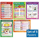 "Acting Skills - Set of 5 Theater & Drama Posters | Classroom Posters for Acting, Performing Arts | Gloss Paper - 33"" x 23.5"" 