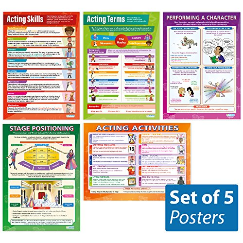 Theater & Drama - set of 5 Acting Skills Wall Charts/Posters in Laminated paper (large 33.5