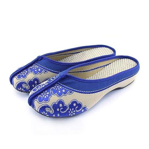 Zapatos Bordados Estilo Chino, Azul y Blanco Zapatillas de Lona de Porcelana Sandalias Lindas Mujeres