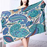 Quick-Dry Bath Towel Vintage floral motif ethnic seamless background Abstract lace pattern Hand drawing Ideal for everyday use L55.1 x W27.5 INCH