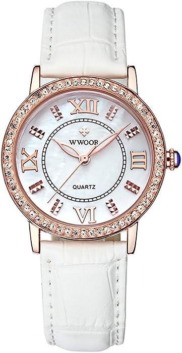Amazon.com: WWOOR 8807 (RoseGold White) Japanese-quartz Pointer Display 30M Waterproof Genuine leather Men Watch: Watches
