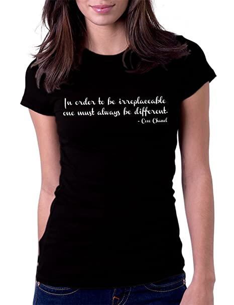 Amazon.com  Women s Irreplaceable Different Coco Chanel Tee T-Shirt ... af2b9ae1eb5