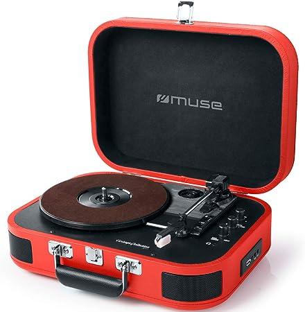 Muse Mt 201 Retro Plattenspieler Mit Bluetooth Eingebaute Stereo Lautsprecher Und Usb Rca Ausgang Aux Eingang Kopfhöreranschluss Rot Heimkino Tv Video