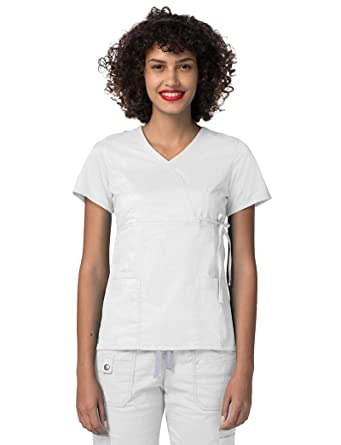 b7130ca18d5 Adar Medical Uniforms Pop-Stretch Junior Fit Mock Wrap Tie Scrub Top  Doctors Nurse Workwear - 3210 - White - XS: Amazon.co.uk: Clothing