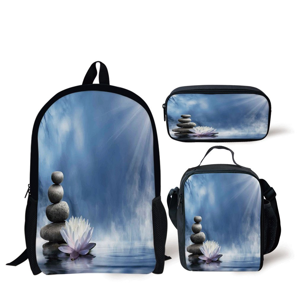 School Lunch Pen Bags,Spa Decor,Purity of the Zen Massage Magic Lily Stones Sunbeams Spirituality Serenity,Personalized Print