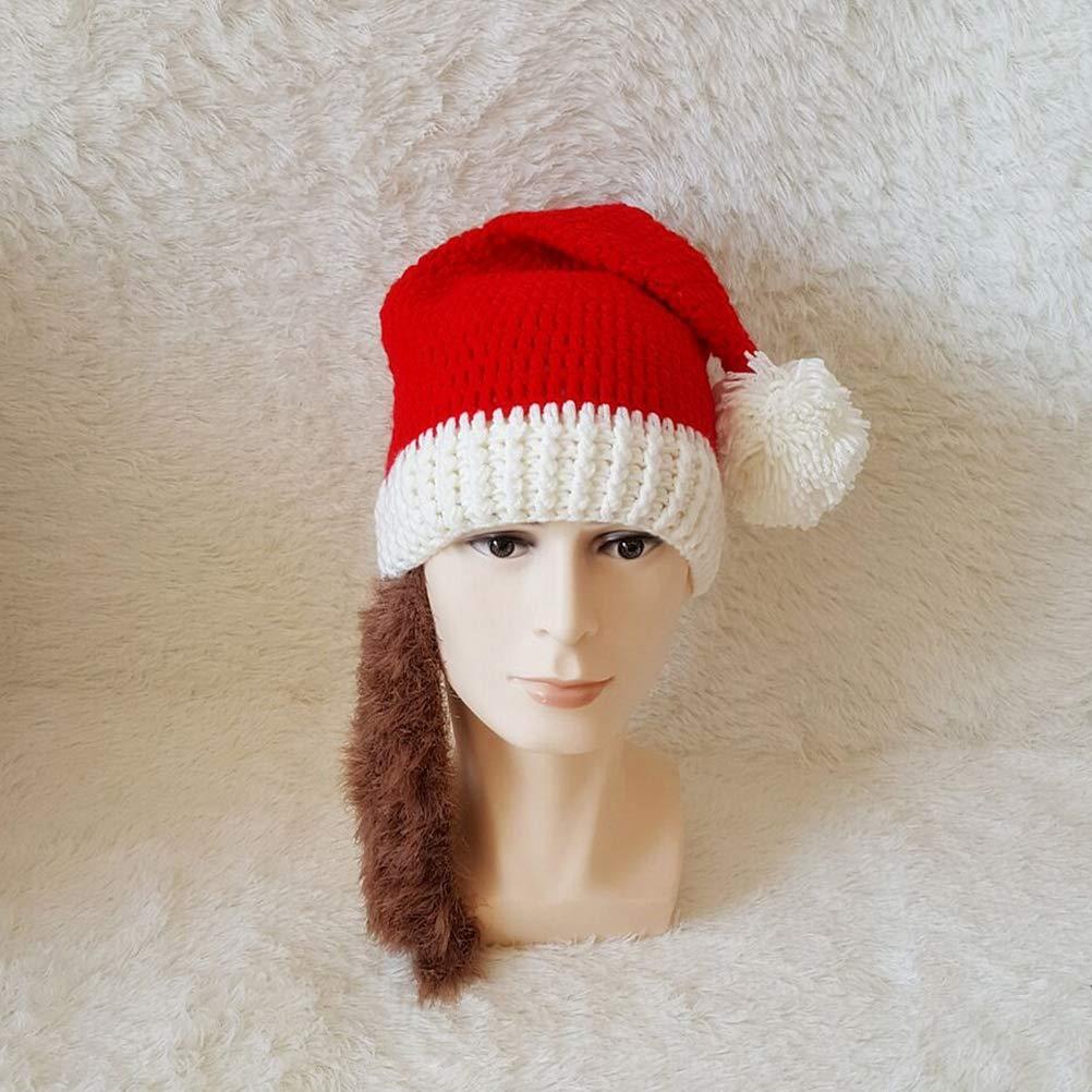 BESTOYARD Gorro de Santa Claus Sombrero de Punto Rojo Sombreros de Barba  Adultos Divertidos para Navidad para Hombres Mujeres (Marrón)  Amazon.es   Ropa y ... c24b35c89d9