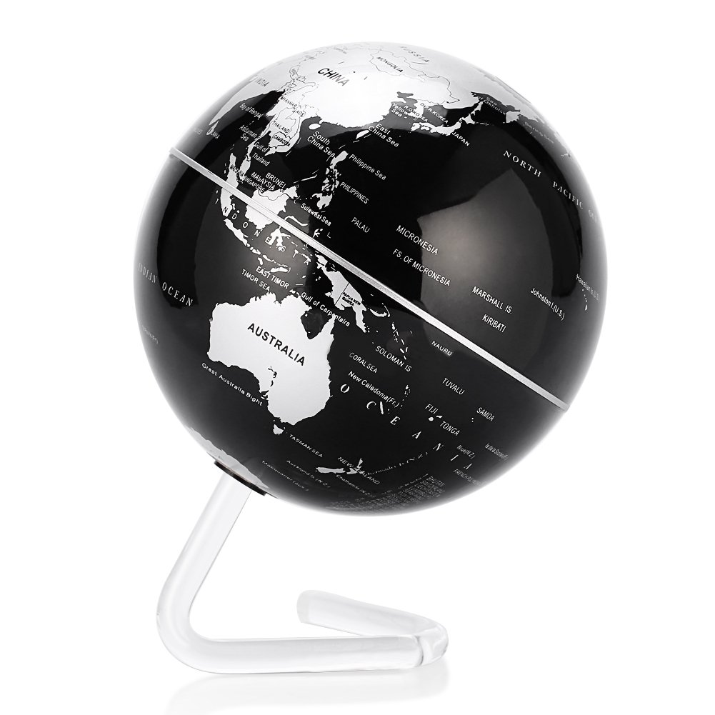 Self Rotating Globe, 4'' Auto-Spinning Rotary Globe Revolving World Earth Map Sphere Novelty Gift Home Office Decoration Kids Educational (4'' Black Globel)