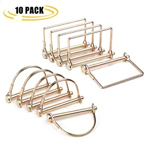 CZC AUTO Shaft Locking Pin 10 Pieces Trailer Coupler Pin, Dia 1/4 Inch Safety Coupler Pin For Farm Lawn Garden Wagons Trailer Hitches Couplers Towing, Square And Arch, Heavy Duty