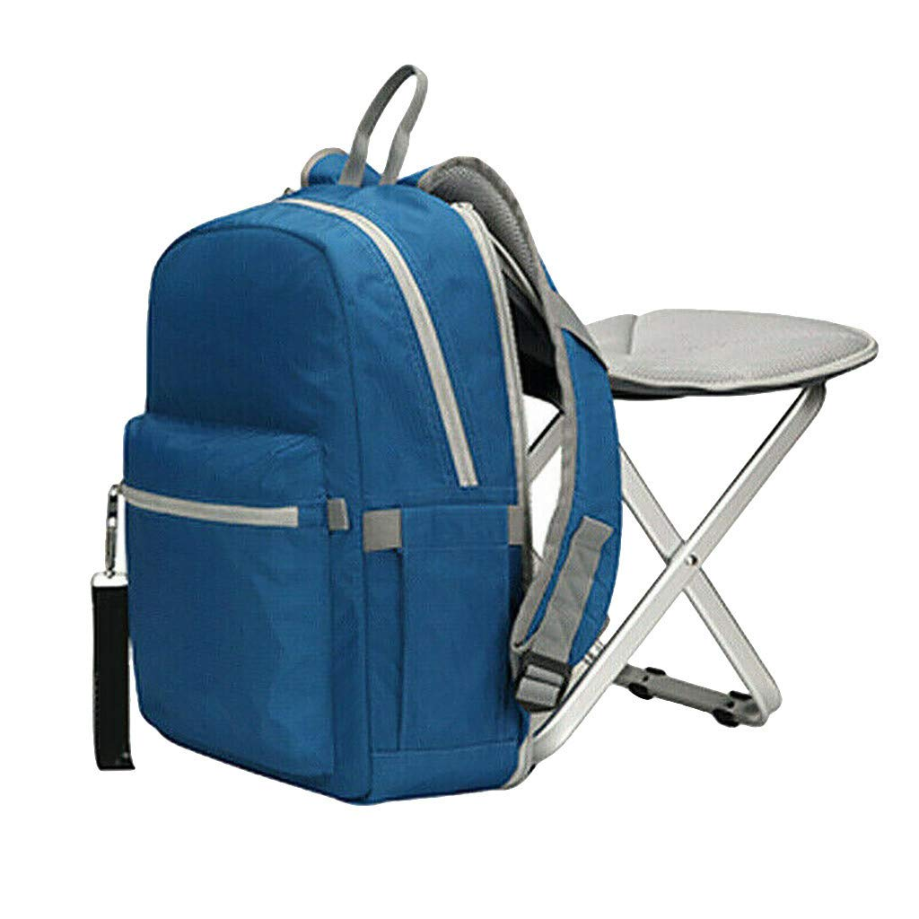 Jeeke Backpack Stool Combo Portable & Folding Camping Chair Stool Backpack with Padded Shoulder Straps Hiking Seat Table Bag Camping Gear for Fishing Travel Beach BBQ (Blue)