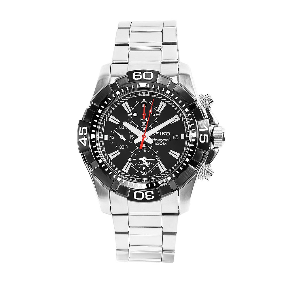 Seiko Men s SNAE25 Diver s Stainless Steel Black Chronograph Dial Watch
