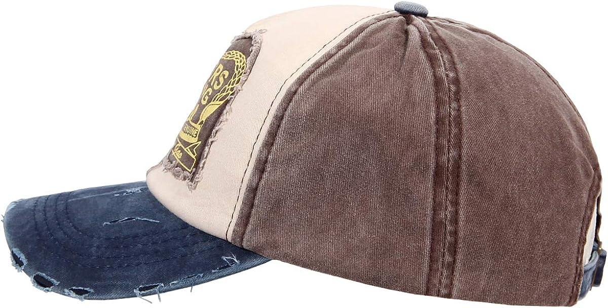 One Size Adult Women Denim Trucker Hat Baseball Cap with Curved Brim Vintage Biker Cotton Used Look Men