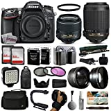 Nikon D7100 DSLR Digital Camera with 18-55mm VR II + 55-200mm VR Lens + 128GB Memory + 2 Batteries + Charger + LED Video Light + Backpack + Case + Filters + Auxiliary Lenses + More!