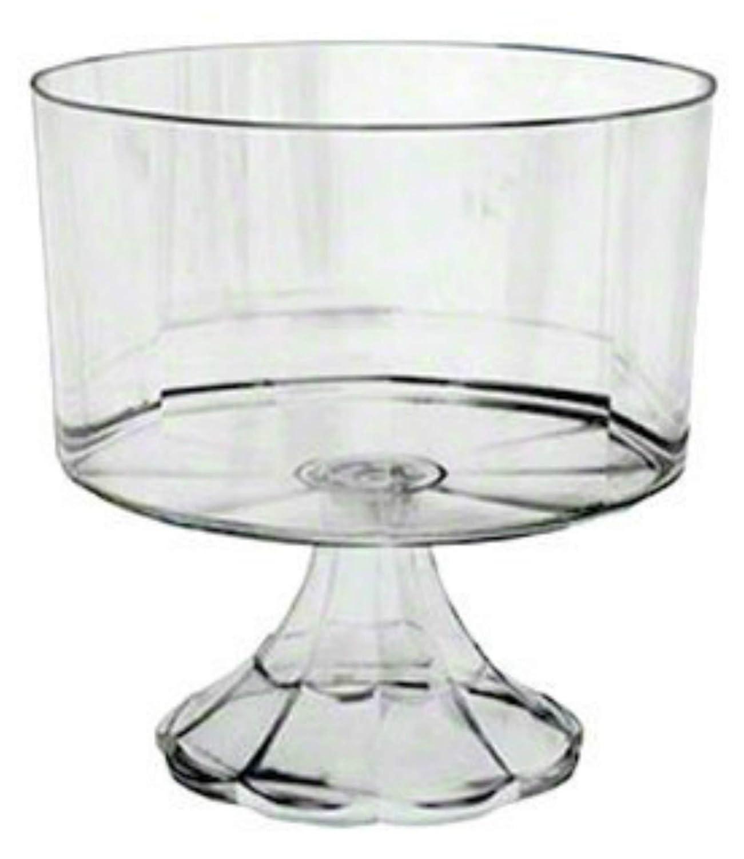 Clear Plastic Elegant Pedestal Trifle Bowl 120 Oz NA