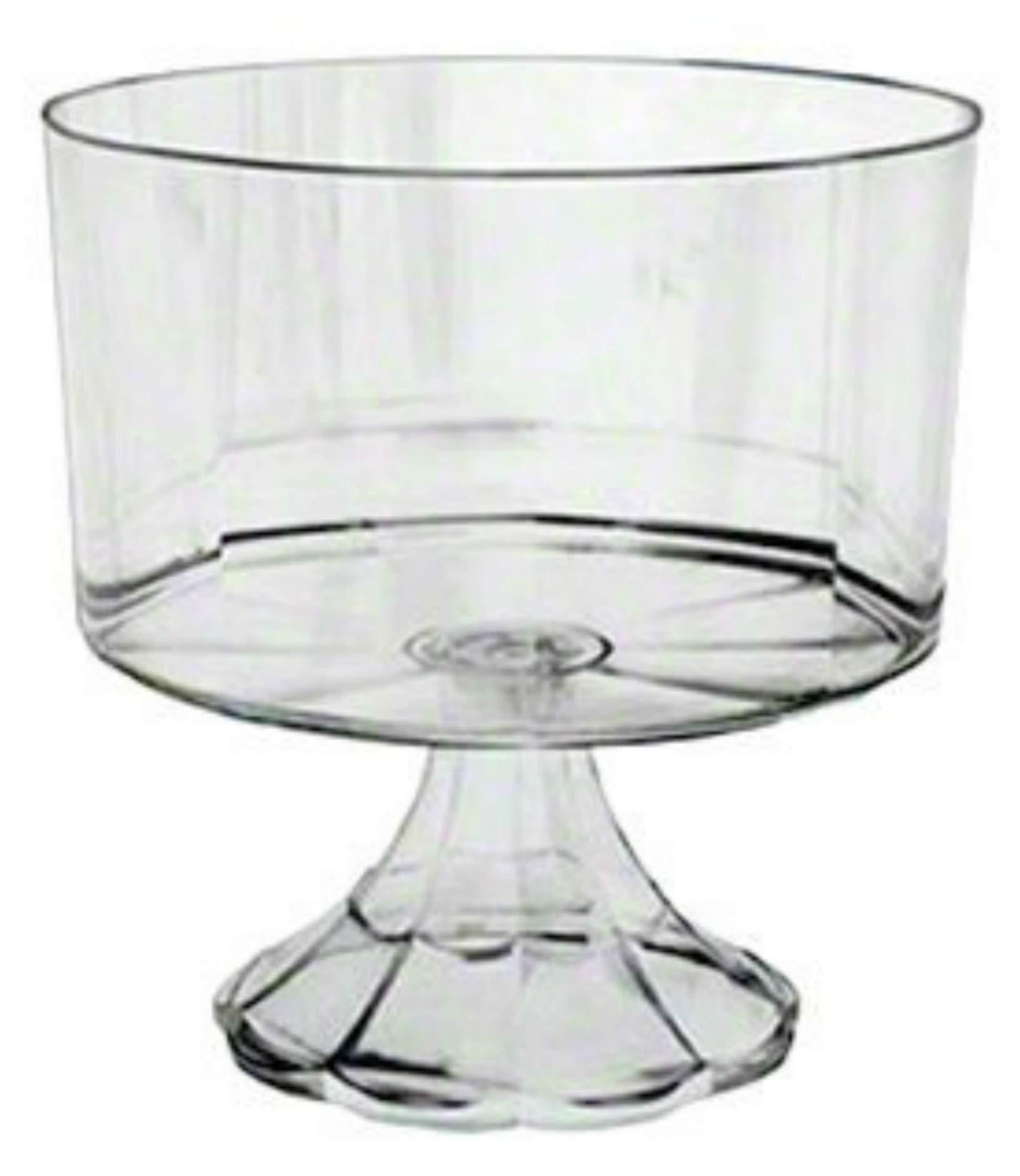 Clear Plastic Elegant Pedestal Trifle Bowl 120 Oz by ESSENTIALS