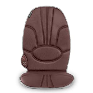 Portable Back Massage Cushion | Heated Vibrating Pad, Multi-Speed, Soft Fabric | Back, Lumbar & Shoulder Kneading, Includes Adapters for Home & Car, Compact & Lightweight for Travel | HoMedics