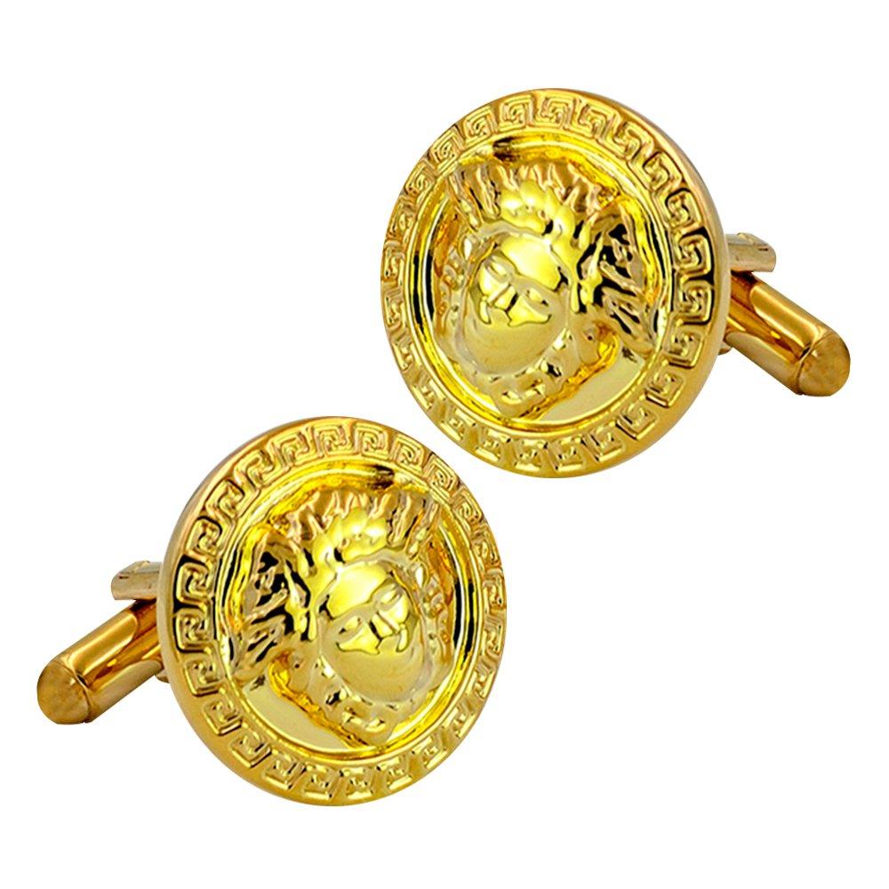 Greek mythology Medusa engraved cufflinks, gold-plated bullet cufflink, luxury beautiful cufflinks Daptsy BLK.XK.439.YQQ